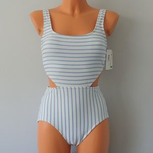 Anne Cole NWT Blue Striped Textured Swimsuit 8